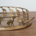 Image of Vintage Brass Bamboo Style Oval Camel Tray