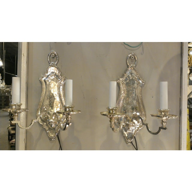 Early 20th Century Edward F. Caldwell Silver Plated Wall Sconces - A Pair - Image 3 of 11