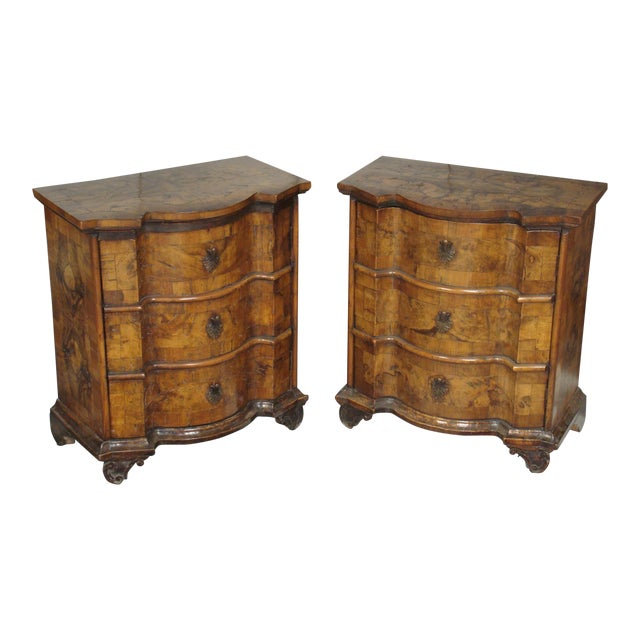 Image of Italian Walnut Veneer Nightstands - A Pair