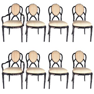 Faux Bois Dining Chairs in Black Lacquer - Set of 8
