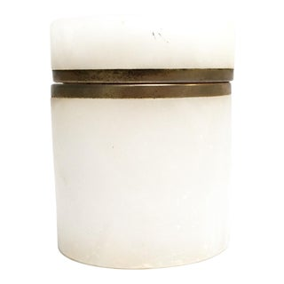 White alabaster container with hinged lid and brass details