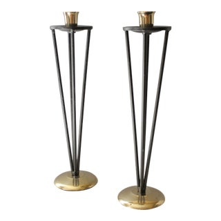 Vintage Iron & Brass Candle Holders - A Pair