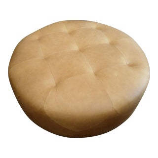 Round Tan Diamond Pattern Tufted Leather Ottoman