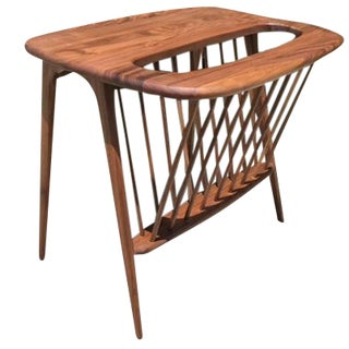 Mid Century Walnut Magazine Rack Side Table