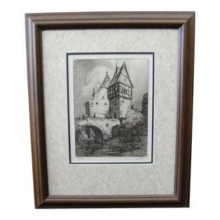 German Engraving of Rothenburg Ob Der Tauber