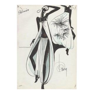 1980's Watercolor Fashion Drawing