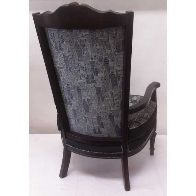 Vintage Armchair in Contemporary Cityscape Fabric - Image 4 of 4