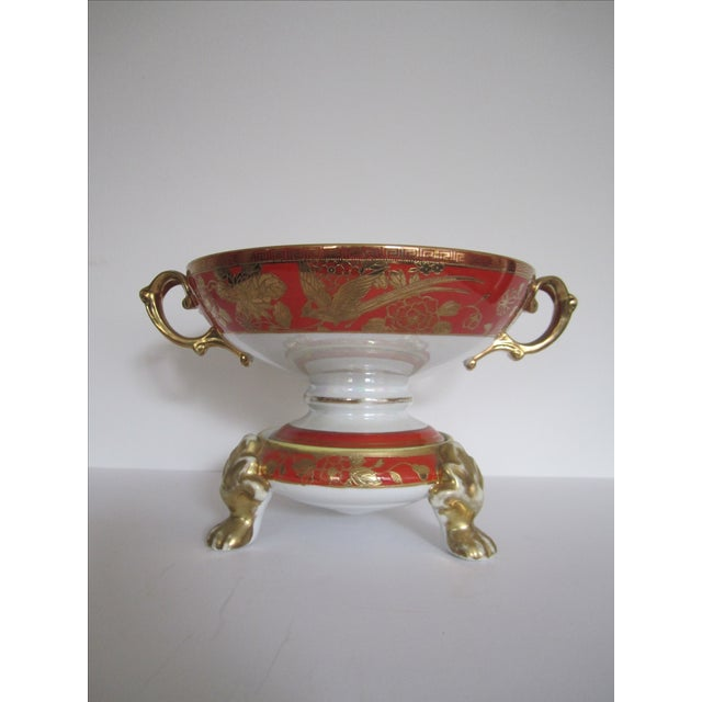 Image of Vintage White, Orange and Gold Tazza with Paw Feet
