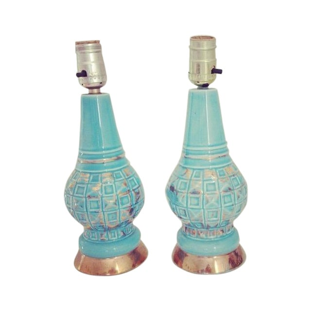 Mid-Century Blue & Gold Faceted Ceramic Lamps - Image 1 of 5