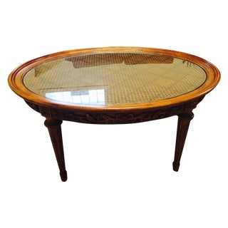 Lillian August Oval Wood & Glass Coffee Table