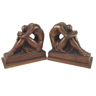 "Galvano Art Deco Bronze Clad ""Solitude"" Bookends - A Pair"