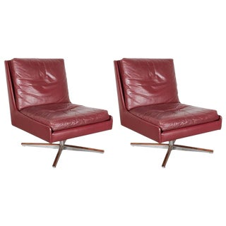 Mid Century Leather Chairs on Swivel Base, Pair
