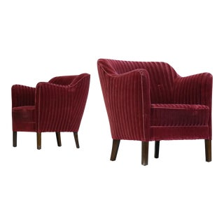 Danish Bergere Art Deco Armchairs Chairs - Set of 2