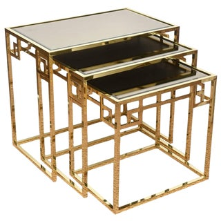 Set of Three Polished Brass and Glass Greek Key Nesting Tables