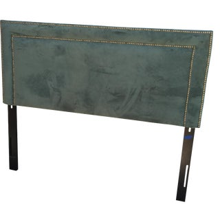 Green Velvet & Brass Nailhead Headboard