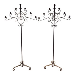 Gothic Style Iron Torchares Candelabras - A Pair