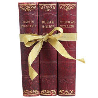 1930's Vintage Book Gift Set: Dickens in Red - Set of 3