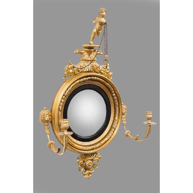 Image of Irish Antique Regency Convex Girondole Mirror