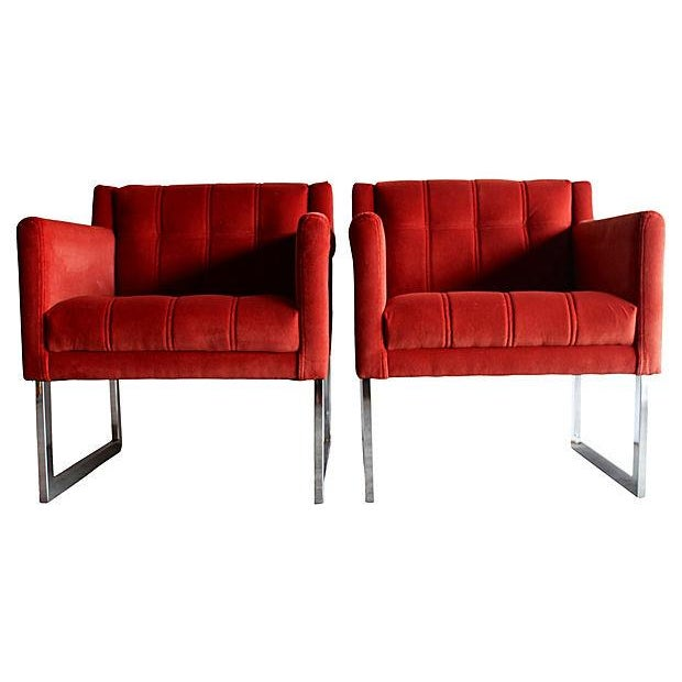 Mid-Century Milo Baughman Style Chairs - Pair - Image 5 of 10