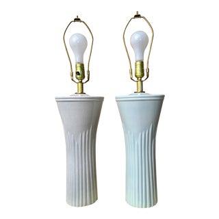 Art Deco Shades of Sea Foam Lamps - A Pair