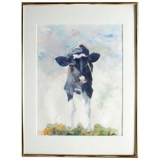 Originl Watercolor of Holstein Calf