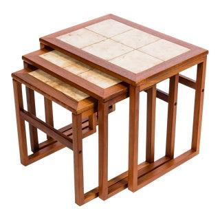 Scandinavian Tiled Teak Nesting Tables - Set of 3
