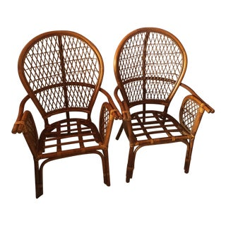 Chinoiserie Chinese Chippendale Rattan Chairs - a Pair