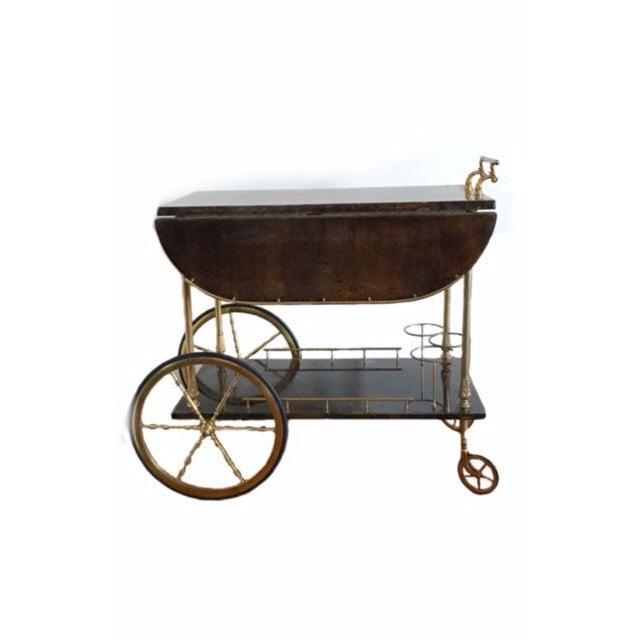 Aldo Tura Goatskin Bar Cart - Image 2 of 7