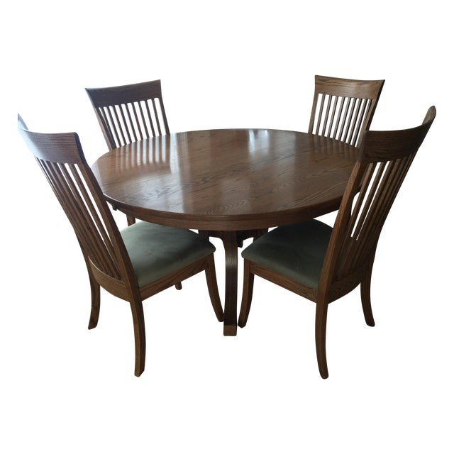 Round Oak Dining Set with 2 Leaves & 6 Chairs - Image 1 of 9