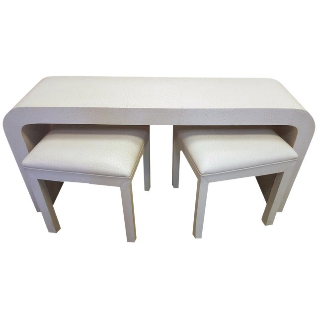 Bedell Faux Ostrich Console Table with Stools - Image 1 of 6