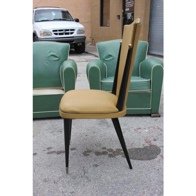 French Art Deco Ebonized Walnut Chairs - Set of 6 - Image 7 of 7