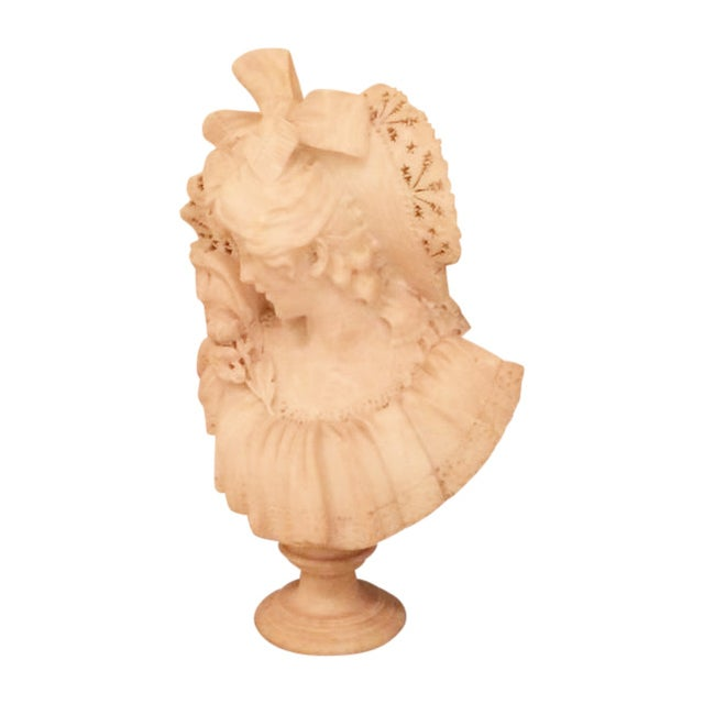 Image of Victorian Alabaster Marble Sculpture Woman