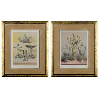Silversmith's Work & Group of Silver Vases, Antique Prints - A Pair