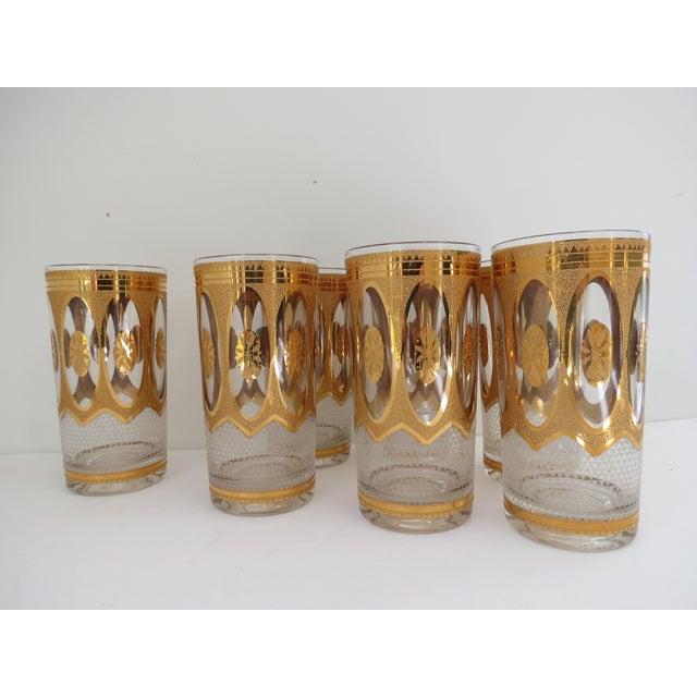 Vintage Hollywood Regency Gold Glasses - Set of 7 - Image 6 of 6