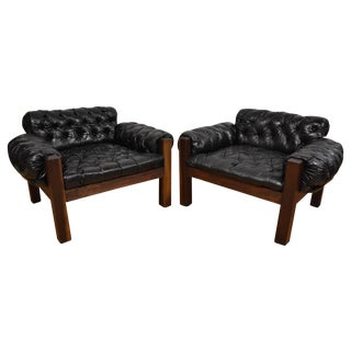 Tufted Leather Lounge Chairs - a Pair