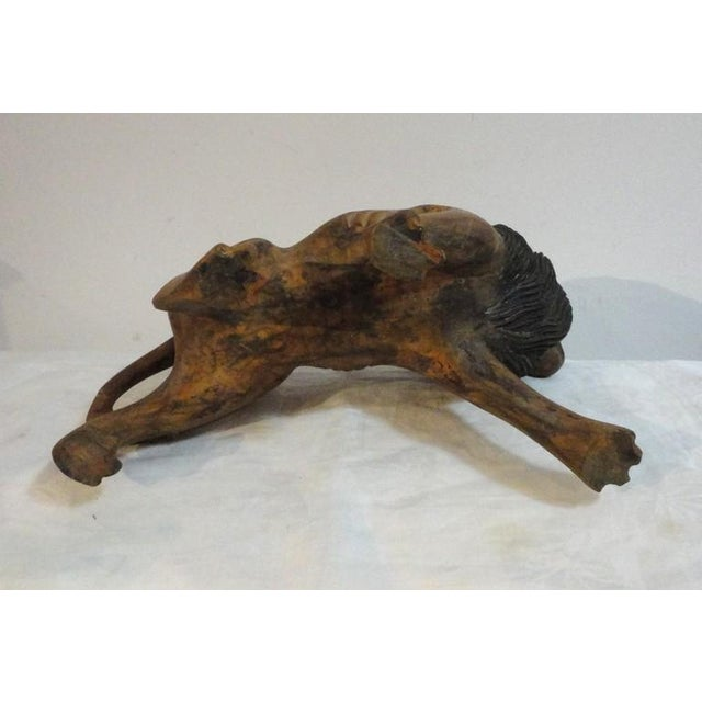 Pair of 19th Century Monumental Hand Carved & Painted Table Top Lions - Image 9 of 10