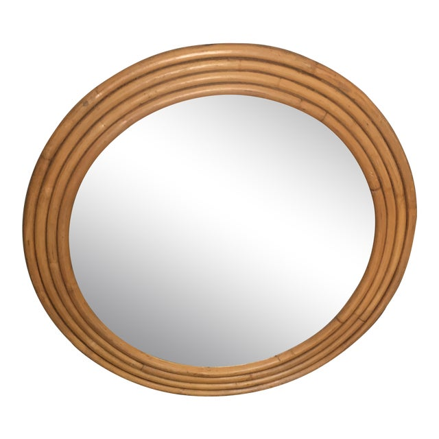 "Rattan Framed Round Mirror 30.5"" - Image 1 of 7"