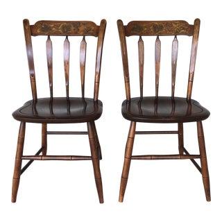 L. Hitchcock Harvest Arrow Back Farmhouse Side Chairs - A Pair