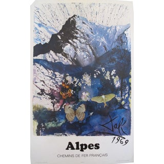 1969 Salvador Dali SNCF French Alps Travel Poster