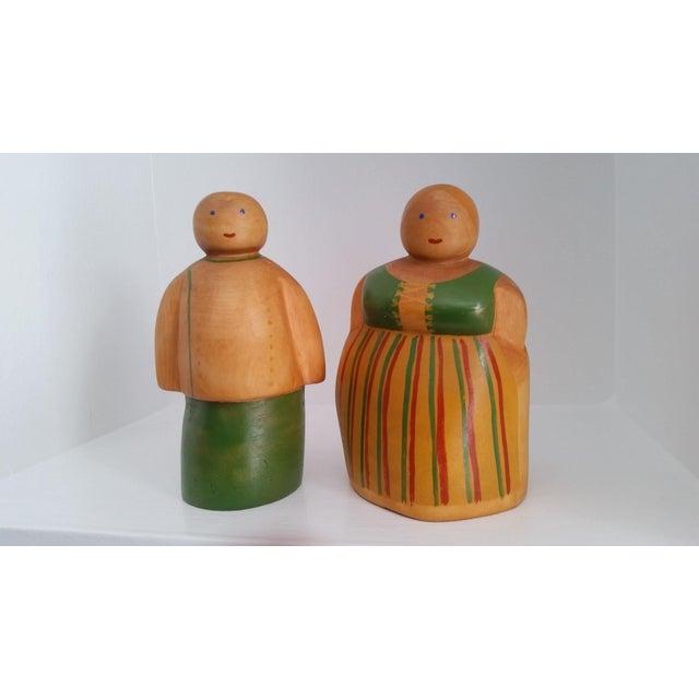Vintage Scandinavian Wooden Figurines - A Pair - Image 2 of 4