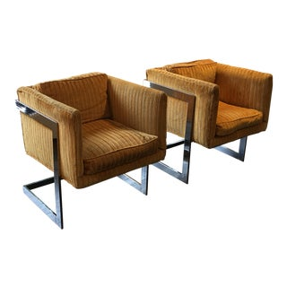 Upholstered Chrome Cube Chairs- A Pair