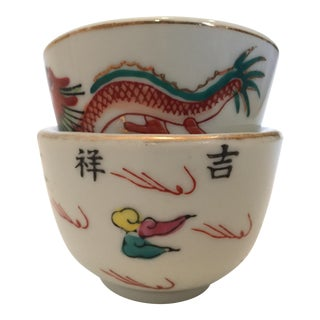 Painted Ceramic Nesting Bowls - A Pair