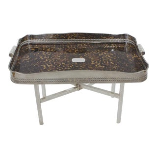 Faux Tortoiseshell and Silver Plated Tray Table