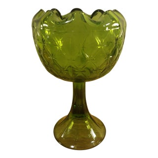 Indiana Glass Green Duette Pattern Pedestal Candy Dish