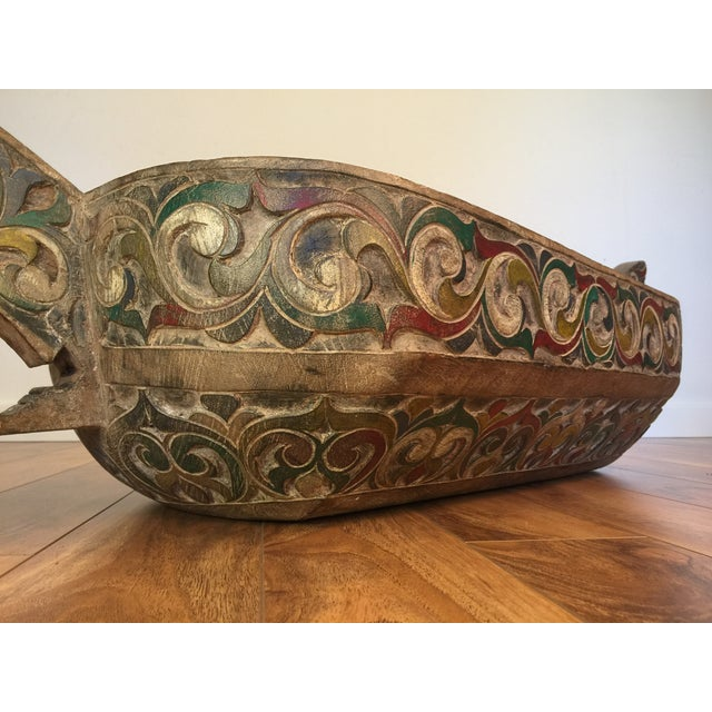 Filipino Carved & Painted Very Large Food Bowl - Image 7 of 8