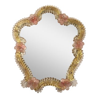 Murano Glass Mirror With Gold Roses Border