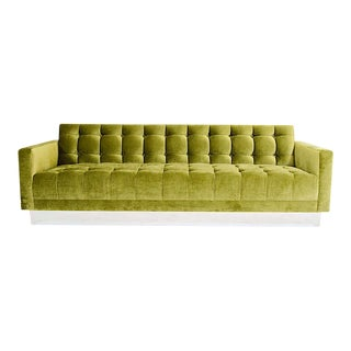 Deeply Tufted Floating Velvet Sofa