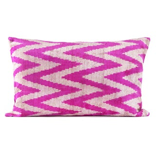 "Silk Velvet Hot Pink Ikat Pillow - 16"" x 24"""
