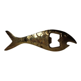 Mid-Century Brass Fish Bottle Opener