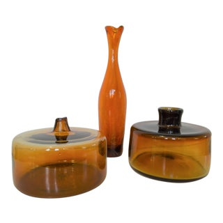 Mid-Century Amber Glass Vases - Set of 3